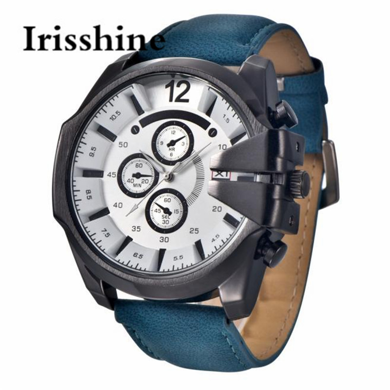 Irisshine Z72 brand luxury men watches boy gift Vintage Brown Mens Analog Steel Case Date Leather Brand Sport Quartz Wristwatch irisshine i0856 men watch gift brand luxury new mens noctilucent stainless steel glass quartz analog watches wristwatch