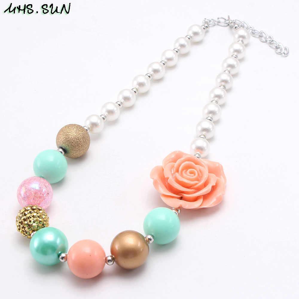 Mhs. sun charme bebê contas de flores colar moda meninas crianças chunky bubblegum artesanal colar jóias para presente da criança 1 pc