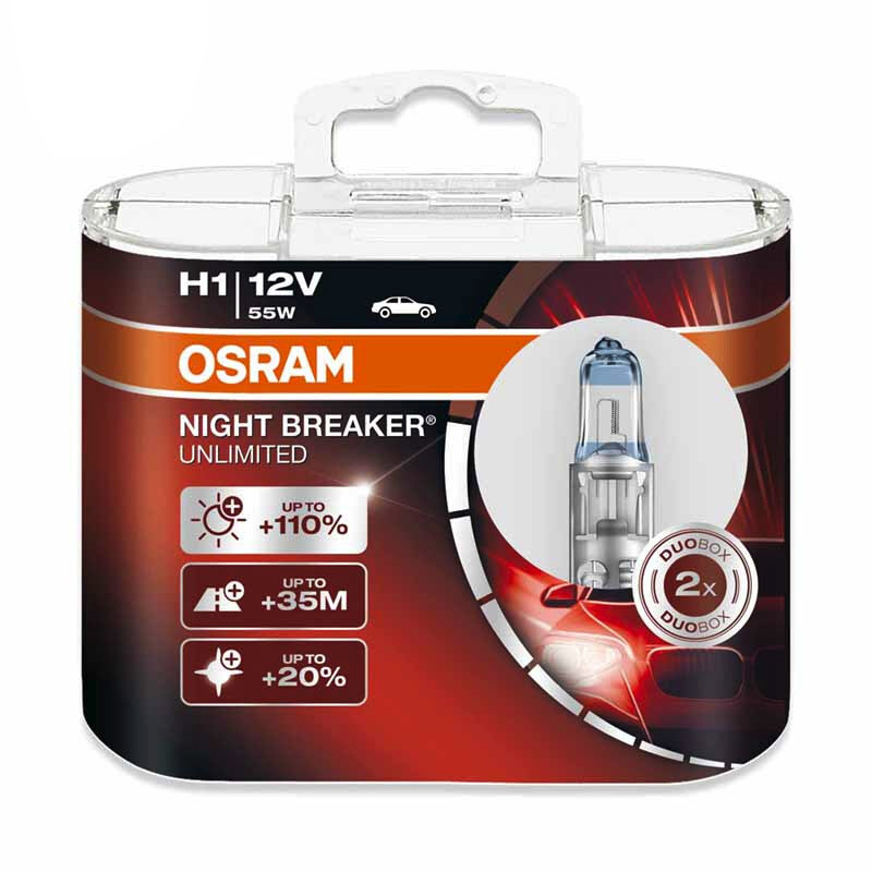 OSRAM Night Breaker  H1 12V 55W  Car Headlight Bulb Low Beam High Beam Halogen Lamp [110% Brighter, Color Temperature 3900K]