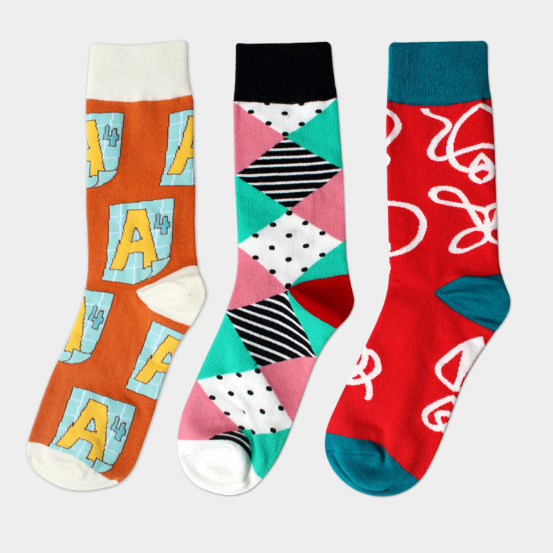 High-quality mens socks 100% cotton spring and autumn British style 3 colors man socks dress socks for men 3 pairs / lot