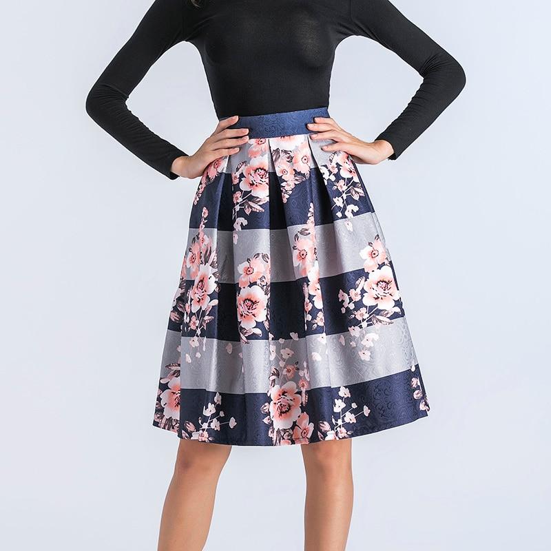 AKITSUMA Summer Skirts Women Midi Skirt High Waist A-Line Skirt Floral Print Elegant