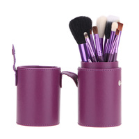 Makeup Brushes Set Brush Holder Cup Case 12Pcs Professional Make Up Brush Kit Solid Color Case