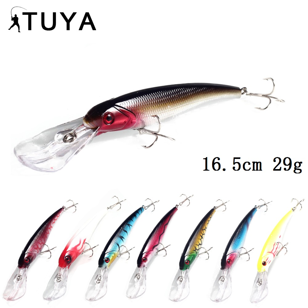 TUY 8 unids / set Minnow Wobblers Lure Fishing Big Minnow Cebo Artificial Duro Duro Trolling Wobbler Deep Water Sea Bass 16.5cm 29g