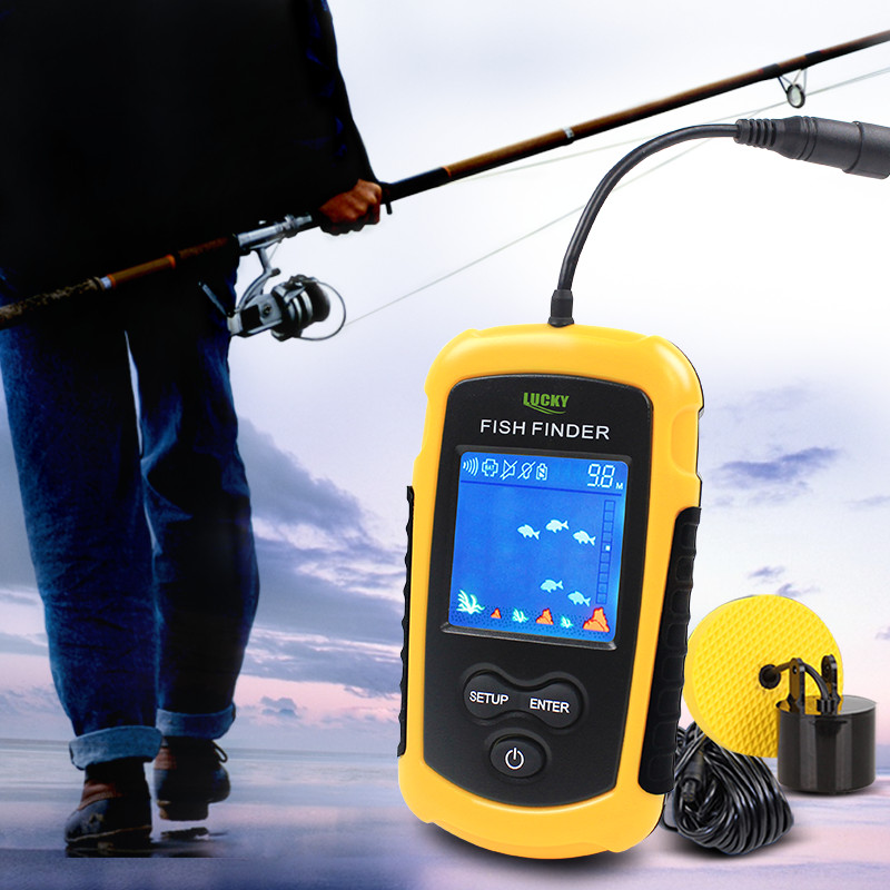 Lucky Fish Finder Sonar for Fishing Alarm 100M Portable Wired LCD Fishfinder Depth Echo Sounder Tackle FFC1108-1 & FF718D #b4 lucky ff718li w portable fish finder wireless sonar fishfinder 45m fish depth alarm echo sounder