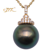 JYX Exquisite Sea Pearl Necklace 14K Gold AAA Quality 12.5mm Peacock green Tahitian Pearl Pendant Necklace 18 gift women