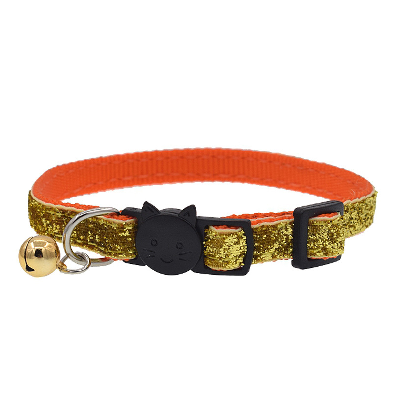 Glitter Cat Collar With Bell Safety Kitten Small Dogs Cats Adjustable Shiny Collars font b Pet
