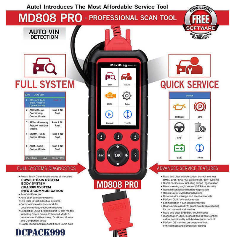 Autel MD808 PRO All System OBD2 Scanner Car Diagnsotic Tool support BMS/Oil  Reset/ SRS/EPB/DPF Best Handheld Auto Scanner