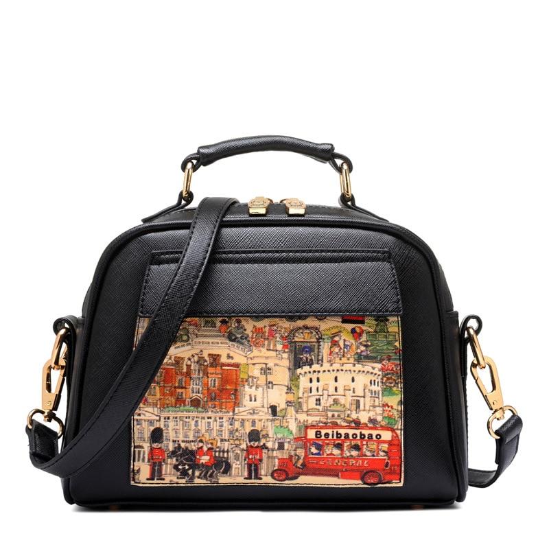 Mode tecknad tryckning kvinna väska med fickor små skal läder - Handväskor - Foto 2