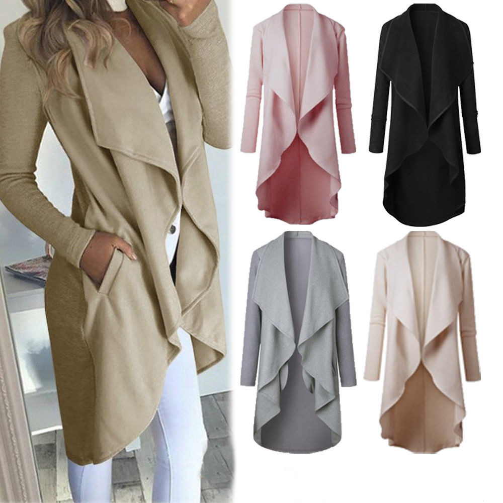 Spring Women Ladies Coat Long Sleeve Waterfall Cardigan   Trench   Slim Fashion Golilla Overcoat Summer Outwear Open Stitch