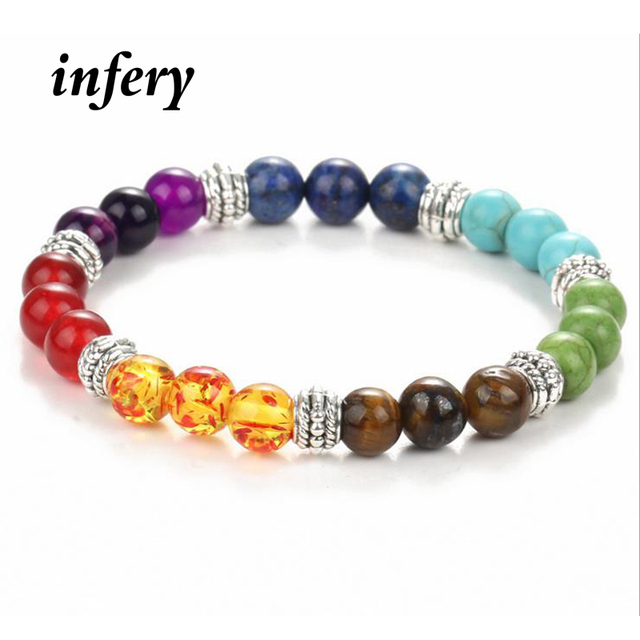 42b3cf3e88c8 € 2.27 50% de DESCUENTO|Joyería Infery siete colores mixtos cristales de  curación Piedra Natural 7 pulseras de Chakra para hombres mujeres rezar ...