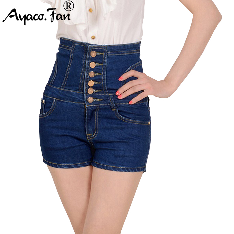 Women Shorts Jeans,2019 Summer Denim Shorts High Waist Single Button Stretch Vintage Short Pants Plus Size 5XL Woman Clothing