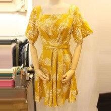 2017 Summer New Korean Style Dress for Women Fashion Ruffles Leaf Print Clothing Female Casual Short Sleeve Ladies Waist Dresses