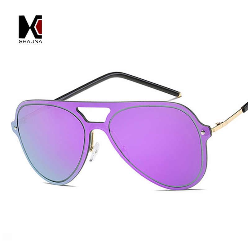 413384b476f SHAUNA Classic Rimless Women Pilot Sunglasses Oversize Fashion Men Purple Integrated  Mirror Lens Shades