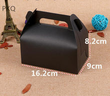 10pcs/lot black Kraft paper Cake Box with handle, high quality Cup cake boxes packaing Wholesale price! 16.2x9x8.2cm paper box(China)