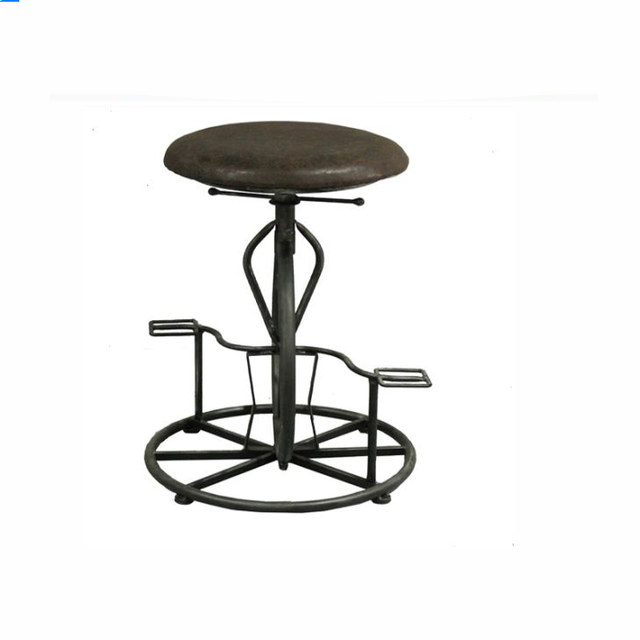 Delicieux Industrial Pinewood Upholstered Round Seat Bar Chair Adjustable Height Bar  Stool With Pedal Swivel Leisure Dining
