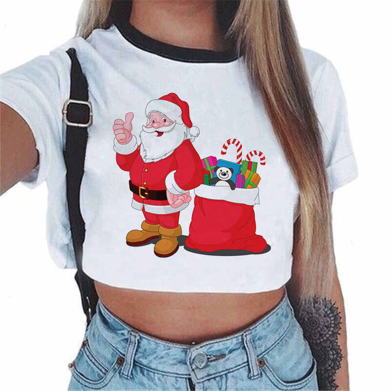 Kobiety koszulki z krótkim rękawem śliczne renifer boże narodzenie Xmas święty mikołaj drukowane Crop Top Tshirt Hip Hop Tumblr topy nowy rok koszulka