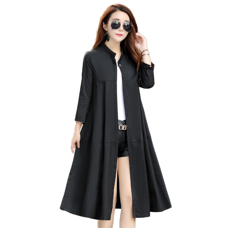 2019 New Spring Autumn Women Long   Trench   Coats Elegant A-Line Plus Size Windbreaker Female Street Fashionl Casual Outerwear M85