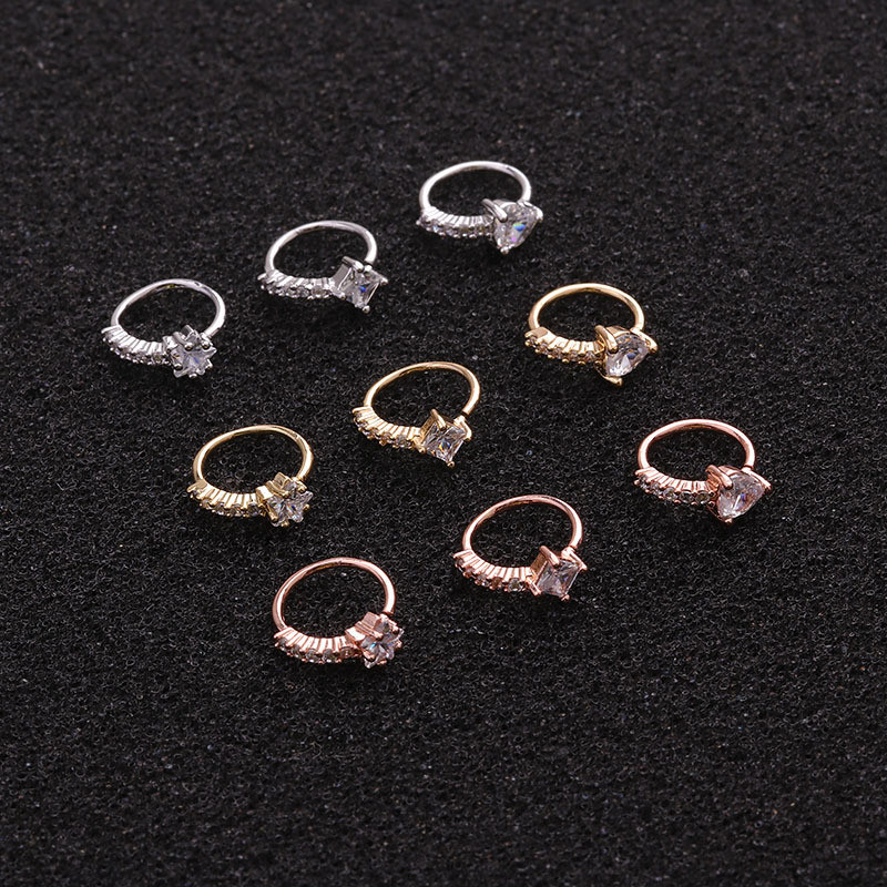 1 Piece Easy To Put On Ear Popular Rose Gold Color CZ Star Heart Piercing Earring Daith Tragus Helix Lobe Piercing Jewelry in Body Jewelry from Jewelry Accessories