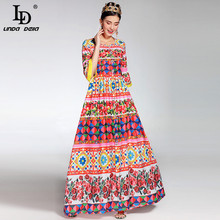 2017 Newest Fashion Runway Maxi Dress Women's Flare Sleeve Crystal Button Beading Charming Flower Floral Printed Long Dress