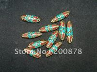 nbb334-nepal-handmade-brass-inlaid-stone-loose-beads-wholesale-nepal-tibet-beads-10-beads-lot