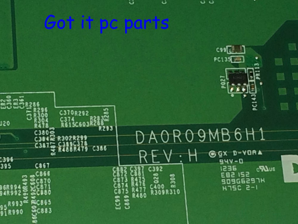 FREE SHIPPING NEW DA0R09MB6H1 REV : H1 Laptop Motherboard for Dell inspiron 5720 Notebook PC (FIT FOR DELL INSPIRON 7720 072P0M)