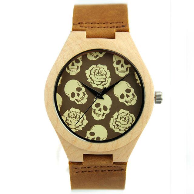 Crânio de luxo Mostrador do Relógio De Madeira De Bambu das Mulheres Dos Homens relógios de Pulso de Quartzo Relógios com Pulseira de Couro Para Os Amantes de Presente Novo