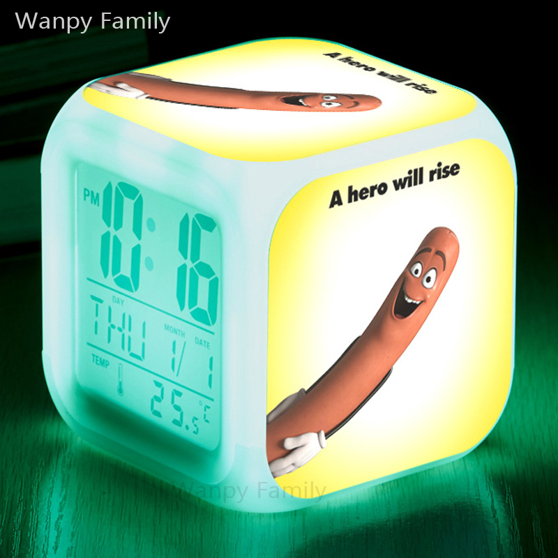 Animated comedy Sausage Party Alarm Clocks,Glowing LED Color Change Digital alarm clocks For Kids Birthday Gift