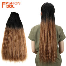 FASHION IDOL Afro Kinky Curly Hair Synthetic Dreadlocks Long Braiding Hair Extension 28 Inch Ombre Marley Braids Hair Bundles(China)
