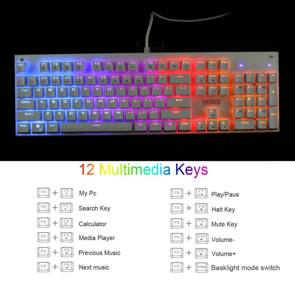 1ST Player Firerose MK3 Mechanical Gaming Keyboard with USB Floating Switch Powered for Game Computer Desktop Laptop