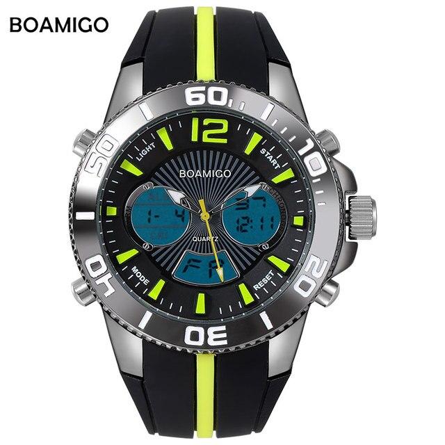 men sport watches dual display men quartz watch analog digital LED Electronic clock rubber band BOAMIGO hot brand 30M Waterproof