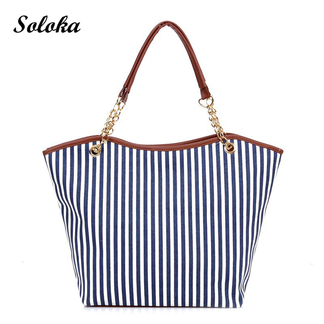 Vertical Stripe Canvas Tote Bag