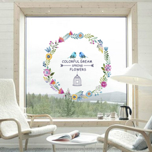 Colorful Dream Spring Flowers Birds Wall Stickers Home DIY PVC Decoration Living Room Bedroom Decor Window Glass Mural Art Decal
