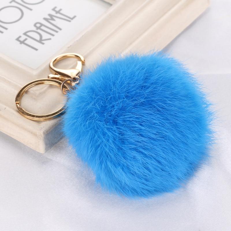 LNRRABC 10 colors 8CM Faux Rabbit Fur Ball Keychain fashion trendy PomPom Cell Phone Car Keychain Metal Buckle Charm Key Ring