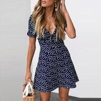 Женское летнее мини-платье с коротким рукавом пляжный вечерние сарафан в горошек платье с коротким рукавом 30
