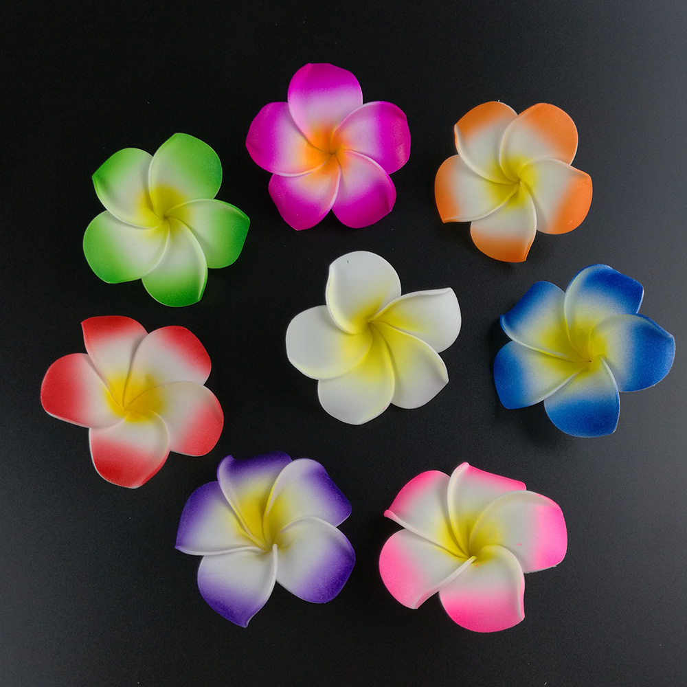 100pcs 4cm Artificial Flowers Fake Plumeria Head Multicolor Hawaiian