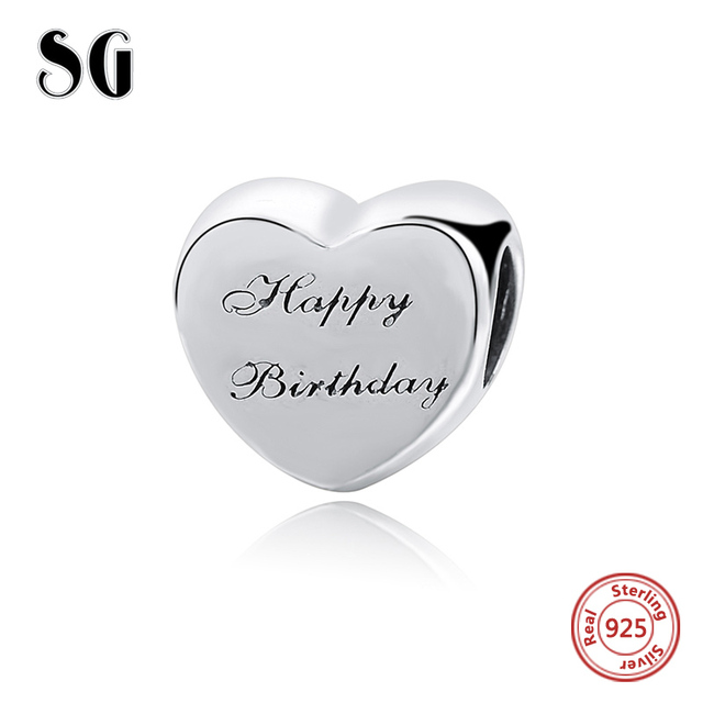 SG recommend happy birthday love heart Charms Silver 925 Beads Fit