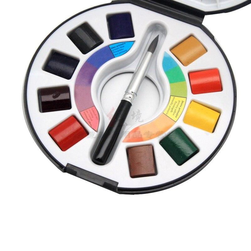 Top artiste SENNELIER Raphael miel aquarelle peinture 10 couleur bloc noir boite de voyage Exclusive limited10 demi-casseroles and1 brosse