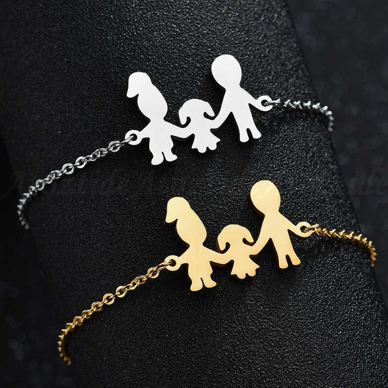 Atoztide แฟชั่นสแตนเลสรูปครอบครัวสร้อยข้อมือพ่อแม่สาวเด็กผู้หญิง Charm ปรับสร้อยข้อมือทองของขวัญเด็ก