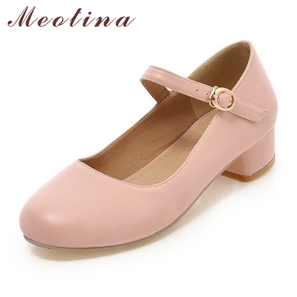 Meotina Women Shoes 2018 Pumps Spring Mary Jane Thick Low Heels Shoes Female Buckle Round Toe Shoes Pink Blue Big Size 9 42 43 meotina women shoes wedge heels bridal wedding shoes spring low heels pumps ladies shoes pumps slip on pink white big size 42 43