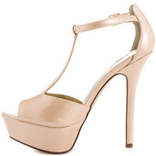 Nude Soft Leather Open Toe T-Strap Thick Platform Thin High Heels Women Sandal 2015 Shoes Women Chanclas Mujer Chanclas Playa