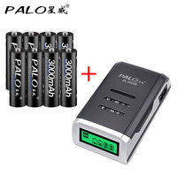 4 Slots High Quality LCD Intelligrnt Battery Charger For AA AAA NICD NIMH Batteries 8pcs 3000mahAA