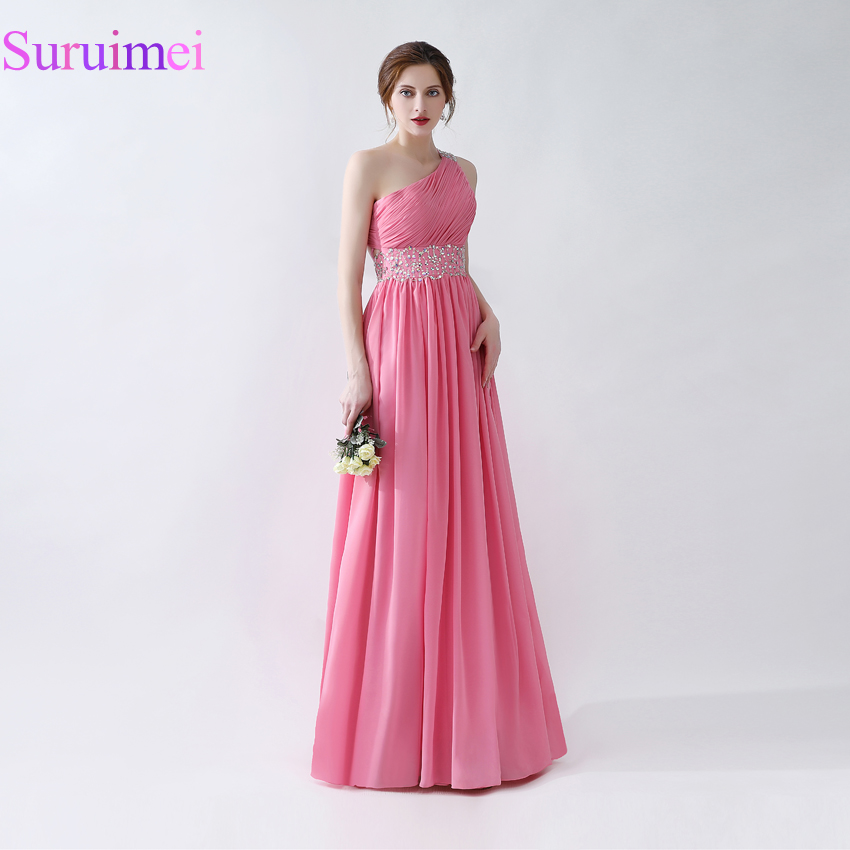 100% Real sample Light Plum Cheap Bridesmaid Dress One shoulder Beading Lace Appliques Long Bridesmaid Dress Maid Of Honor Gowns