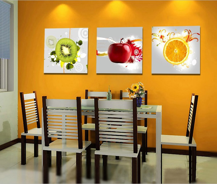 3 Panels Wall Art Kitchen Decorative Fruit Painting Modern Canvas ...