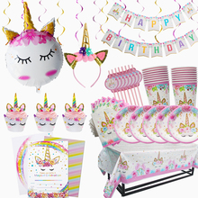 MEIDDING Unicorn Party Disposable Tableware Supplies Birthday Girl Kit Favors Balloons Baby Shower Decoration