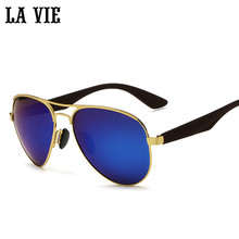 LA VIE Polarized Fashion pilot Lens men Sunglasses alloy frame plastic leg male Cool Sun glasses oculos de sol feminino LV3523