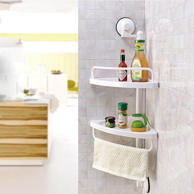 Bathroom Organizer Pvc Wall Mounted Double Layer Corner Storage