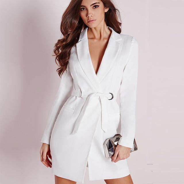 ZJYT элегантный OL v-образный вырез тонкий бинт Длинный блейзер женский Однотонный черный длинный рукав пальто платье отпуск 2018 куртка костюмы осень