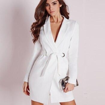 ZJYT elegante OL cuello en V ajustado vendaje largo Blazer mujer sólido negro manga larga abrigo vestido vacaciones 2018 chaqueta trajes otoño
