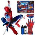 Be Like Spiderman ! Mega Blaster Web Shooter with Glove Action Figures Kids Toys Spinning Spray 2 IN 1 Shoots Web Fluid or Water