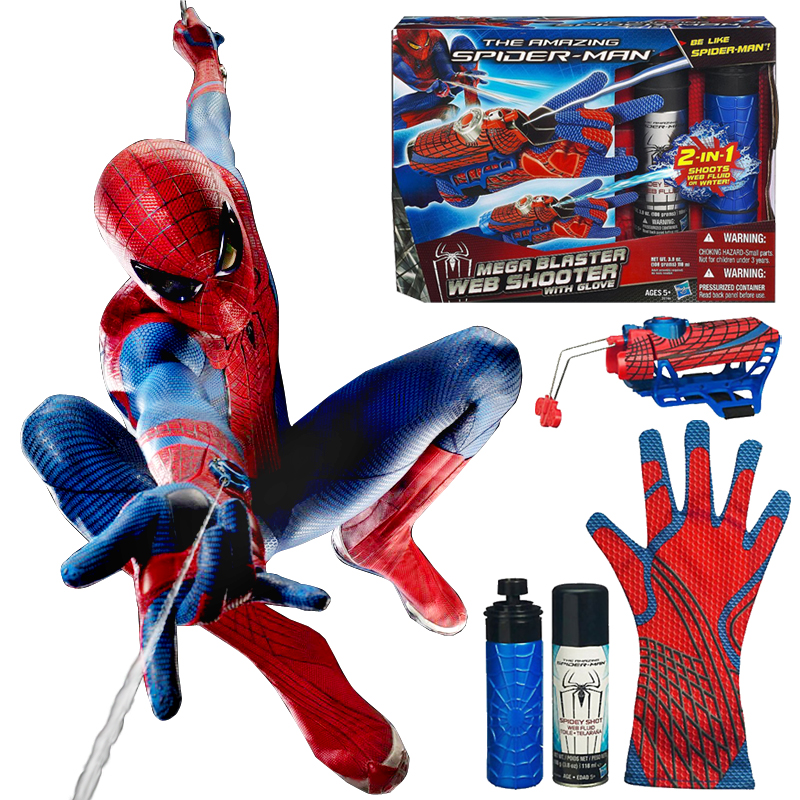 Be Like <font><b>Spiderman</b></font> ! Mega Blaster Web <font><b>Shooter</b></font> with Glove Action Figures Kids Toys Spinning <font><b>Spray</b></font> 2 IN 1 Shoots Web Fluid or Water
